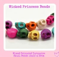 15 x	Mixed Turquoise Skull Loose Beads 13x12mm